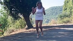 white dress on the road