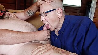 Sucking another cock