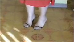 Granny's Feet In Heels Covered In Cum