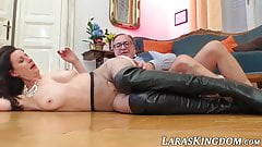British and busty MILF licks cum after homemade pounding