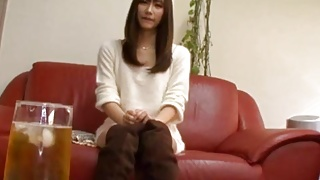 Chika Eiro in long boots sucks dildo and gets fucked