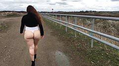 Big ass walking outdoor flashing!
