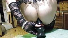 Cumming with XL anal plug inside