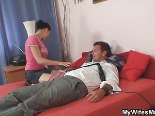 Old mother grabs for his cock - She finds mother inlaw riding his cock