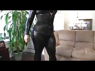 Latex leather ass huge gigantic cock - Curvy brunette shows off huge ass in leather catsuite
