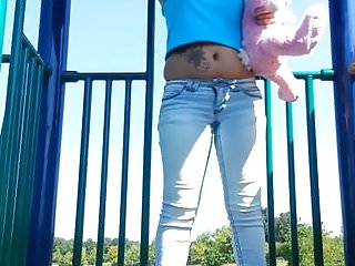 I pee my pants for fun Peeing in my light blue pants at public playground