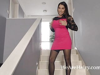 Stairs tack strip - Mischel lee strips and masturbates on her stairs