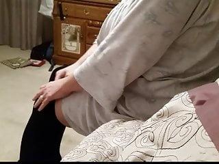 Sexy girdles village ladies - Putting on her sexy black pantyhose girdle