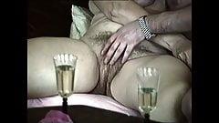 Fingering granny with big hairy bush on sofa