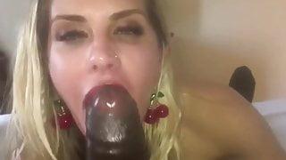 German Married MILF Gives Brown Cock Blowjob