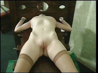 Lick her body all over girl Cute whore with a nice rack gets hot wax all over her body