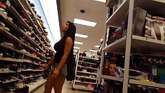 Hot Asian latina candid MILF shopping in skirt huge tits