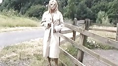 Blond MILF gets naked and flashes outside