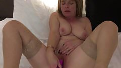 Mil fucking her pussy with cum dripping out