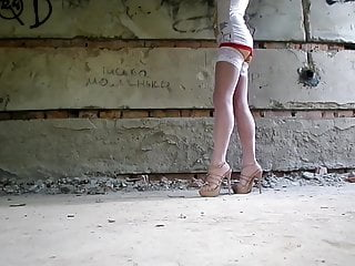 Itchy penis with white bumps under the foreskin White stockings, high heels, panties under the dress