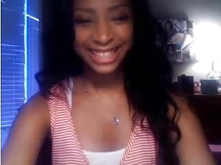 Black teen beauty - Beautiful black teen playing with me on webcam