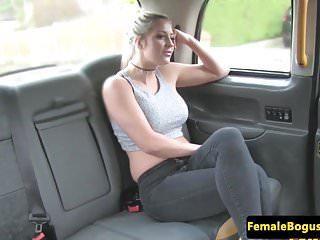 Lesbians in a taxi - Bigtitted british les pussylicking taxi babe