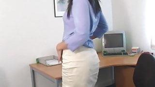 Milf strips in stockings