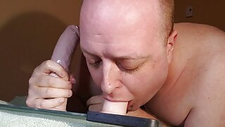 Deepthroat the 8 inch dildo to the base