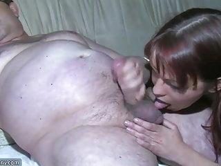 Very hot chubby Oldnanny chubby granny is very horny great threesome