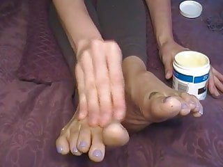 Massaging breasts to change size Size 12 big feet long toes oil massage