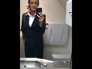 Wierd masturbate Real stewardess wanks on flight ii
