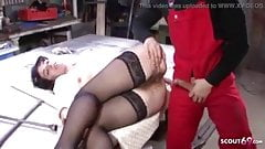 hairy milf fucked in a German factory