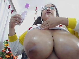 Oiled up huge tits - Oiled up huge natural boobs