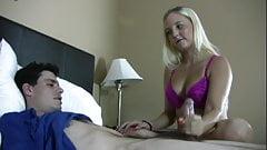 Busty blonde makes him cum for her joy