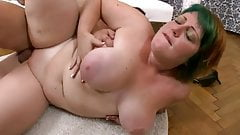 Fat red hair woman with droopy boobs