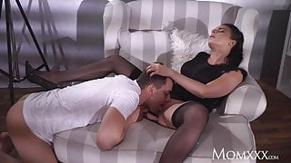 MOM Busty sexy French MILF in black stockings lingerie and h
