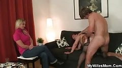 Wife watches hubby do her old mom