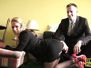Dominant wives spank Fishnet euro dominated with facefucking
