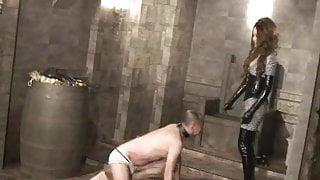 Japanese domina Kira keep kicking slave's body