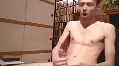Young Man Jacks His Big Cock In Library