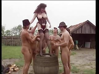 Pissing tits - Hairy italian is pissing while anal gangbang