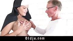 Big dick grandpa shoves a young nun's chastity