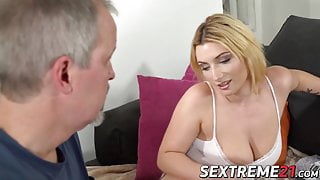 Curvy MILF in stockings pussy pounded by older gentleman
