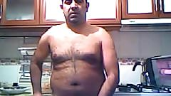 Turkish daddy wanking in the kitchen
