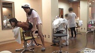 Japanese risky public sex in a hair salon with Rui Hizuki