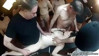 Pregnant whores in a circle get cum in all holes