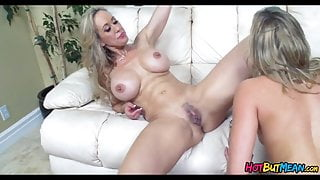 Blonde Cougar shows Her how to Eat Pussy