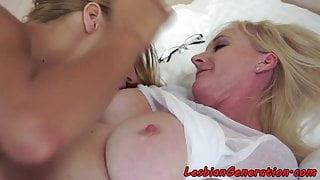 Busty mature oral pleasuring lesbian babe