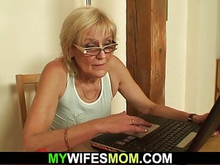 Fucking son in law - Son in law fucks old girlfriends mother on the table