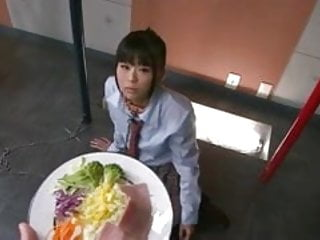 Asian chain gangs Japanese schoolgirl chika is on her knees chained to a pole