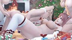 Dead or Alive 3D хентай лесбийская рождественская вечеринка с трахом пальцами