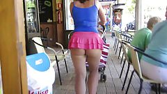 micro skirt in public showing lots of butt cheeks