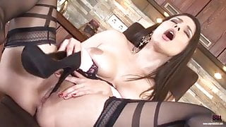 Busty Hungarian brunette loving her pussy and feet