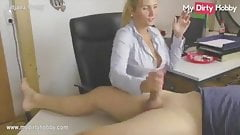 AMAT blonde secretary smoke cigarette and suck cock on desk