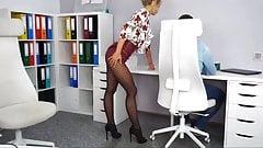Hot secretary teases her boss